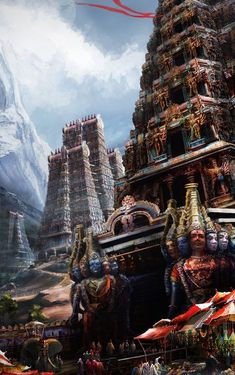 Simple shot of a hindu temple entrance. Programs used: Photoshop hindu temple entrance Temple India, Hindu Temple, Fantasy Art Landscapes, Fantasy Landscape, Indian Temple Architecture, Shiva Art, Krishna Art, Hare Krishna, Lord Vishnu Wallpapers