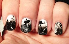 black and white nail art - 60 Examples of Black and White Nail Art  <3 <3