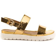 Aldo Women's Paramore - Gold ($60) ❤ liked on Polyvore featuring shoes, sandals, gold, aldo footwear, aldo shoes, aldo, gold flatform sandals and flatform sandals