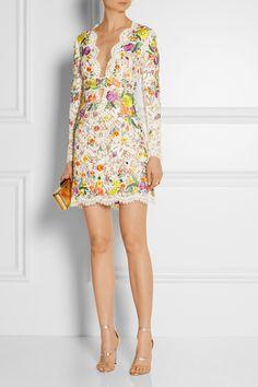 Emilio Pucci Embellished embroidered lace mini dress NET-A-PORTER.COM