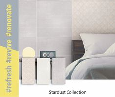 url: tileafrica.co.za Tiles can be used in any space, including bedroom walls. Consider tiling the wall behind your bed with the Stardust tile and create a headboard effect with the matching décor tile. #revive #refresh #renovate #tiledesign #tilecollection #interiordesign #homedecor #home #homegoals Feature Walls, Tiling, Trendy Home, Tile Design, Bedroom Wall, Floors, Interior Design, Space, Create