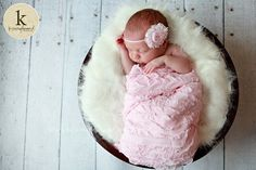 Ruffle Wrap Pink and Rosette Headband Newborn by OopsIKnitItAgain, $27.00