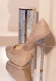 Jimmy choo nude suede heels with diamond heel