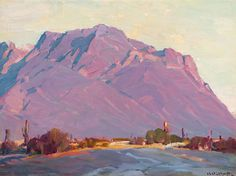 Hanson Duvall Puthuff (1875-1972). Fragment - Superstition Mt., Oil on Canvas laid on board.