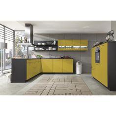 Ein besonderer Hingucker: Diese Einbauküche in freundlichem Gelb!