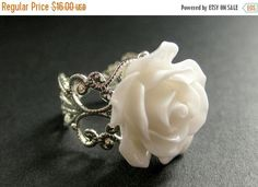 BLACK FRIDAY SALE White Rose Ring. White Flower Ring. Filigree Ring. Adjustable Ring. Flower Jewelry. Handmade Jewelry. by StumblingOnSainthood from Stumbling On Sainthood. Find it now at http://ift.tt/2i5S43t!