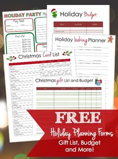 The holidays are so crazy and busy that it can be easy to stress and feel unorganized.  Relax.  Grab a cup of coffee (or whatever is your pleasure) and print out these forms which will help you get your holiday planning under control!