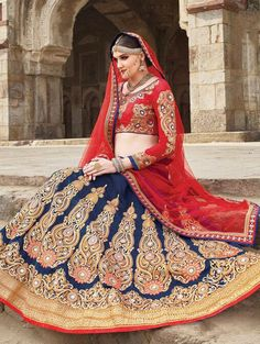 Blue Pure Silk Lehenga Choli with Embroidery Work