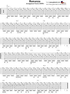 Classical Spanish Romance - fingerstyle guitar tablature