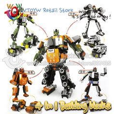 20pcs/lot free shipping 4 style 4 in 1 change style 1 into 3 styles Robot action figures building blocks 3D puzzle Toys for boy-in Action & ...