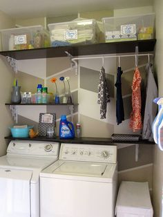 Shelving!  Pinner said: Love this - might need to paint a fun pattern on my laundry room walls.