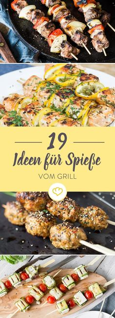 Ready to sizzle: 19 delicious skewers from the grill- Zum Brutzeln aufgelegt: 19 köstliche Spieße vom Grill Here you will find 19 delicious ideas for more variety for your grill. You will be surprised at what else grill strips look perfect on. Barbecue Recipes, Grilling Recipes, Pork Recipes, Healthy Recipes, Raclette Recipes, Vegetarian Barbecue, Brunch Recipes, Grill Party, Paleo Dinner