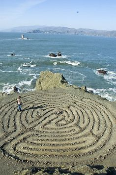 I have often wondered if there ws a way to make a Labyrinth in our yard that could be mowed over easily. Walking the Labyrinth ─ A meditation labyrinth located at Land's End Park in San Francisco, California. Labyrinth Maze, Walking Meditation, Meditation Music, San Francisco Travel, Lands End San Francisco, California Dreamin', Places To See, Paths, Illustrations