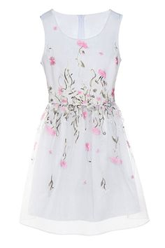 Delicate Embroidered Floral Organza Dress -
