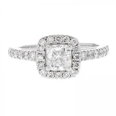 Pre-owned 14K White Gold Brilliant Cut Diamond Ladies Engagement Ring ($2,999) ❤ liked on Polyvore featuring jewelry, rings, preowned engagement rings, pre owned rings, 14k jewelry, 14 karat gold ring and 14k ring