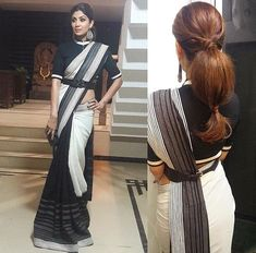 20 divine hairstyles to complete your saree Nine meters. Nine meters of a sare is enough to turn an ordinary woman into an Indian goddess. When a woman drapes a sari, she makes a statement. Saree Wearing Styles, Saree Styles, Trendy Sarees, Stylish Sarees, Saree Hairstyles, Indian Hairstyles, Fancy Blouse Designs, Blouse Neck Designs, Saris