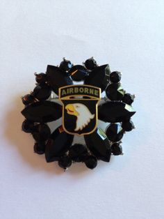 101st Airborne Division Crest on Silver and Black Crystal Brooch Pin, in stock, Ready to ship - United States Army via Etsy