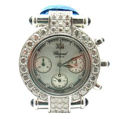 Chopard Lady's White Gold Imperiale Diamond Sapphire Chronograph Wristwatch  | From a unique collection of vintage wrist watches at https://www.1stdibs.com/jewelry/watches/wrist-watches/
