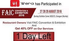 FAIC is a Unique Platform for Manufacturers & Traders to Meet Network & Explore Opportunities among Caterers, Hoteliers, Banquet Owners & Decorators Across the Country. Restaurant Owner, Day Left, Catering, Restaurants, Tech, Banquet, Platform, Explore, Country