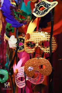 Beautiful masquerade mask display at a Moroccan themed event Moroccan Theme, School Fundraisers, Masquerade, Fundraising, Stationary, Special Occasion, Wreaths, Display, Halloween