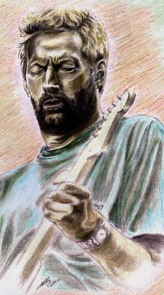 Eric Clapton - Colored pencil drawing by Kathleen Kelly Thompson