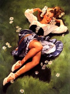 TITLE: Lazy Days Are Here Again  DATE: 1948  NOTES: Publisher: Brown & Bigelow.    http://www.thepinupfiles.com/elvgren/ELVGREN_img_68.jpg