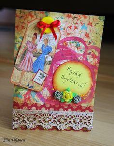 Vintage birthday card - Made by Siiri Viljanen, blog Käsitöitä flamencohame hulmuten (also in English)