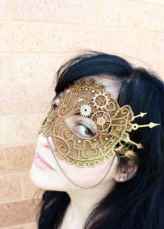 Steampunk lace mask tutorial.  Step one is stitching the lace mask part, which is waaaaaay overly ambitious for my crafting career thus far, but maybe someday I'll be up for it...