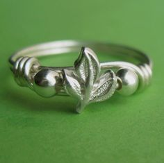 Little Sterling Silver Leaf Ring by PaupersBounty on Etsy. $13.00 USD, via Etsy.