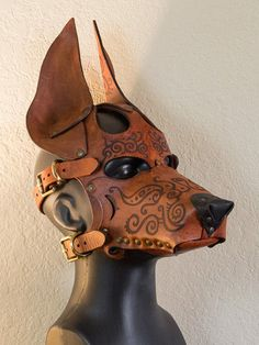 pup hood - Google Search Laika Dog, Fox Pups, Wolf Mask, Collars Submissive, Clever Gadgets, Leather Mask, Puppy Play, Animal Masks, Larp