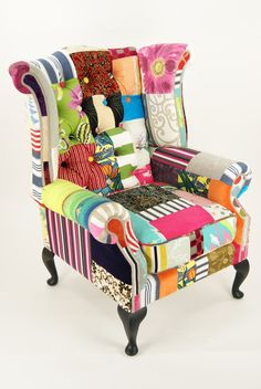 Matt Black patchwork wingback chair by Kelly Swallow Colorful Chairs, Cool Chairs, Lounge Chairs, Funky Furniture, Painted Furniture, Patchwork Chair, Crazy Patchwork, Take A Seat, Upholstered Furniture