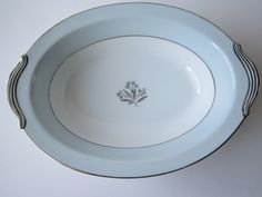 Vintage Noritake Mavis Blue Platinum Floral Oval by thechinagirl