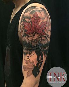 Artist: Lu 3883 Rutherford Rd Vaughan, ON 905-605-2663  www.dreamworxink.com Hours: Tues-Fri 12-8pm, Sat 12-6pm Sport Tattoos, Bike Tattoos, Hockey Tattoos, Tatoos, Canadian Flag Tattoo, Maple Leaf Tattoos, Tattoo Homme, Inked Men, Inked Guys
