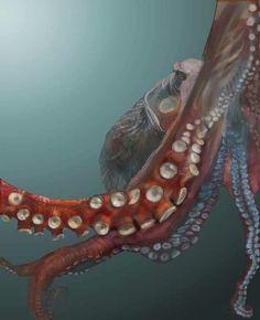 "Artist: Krista Anandakuttan; Painting 2008 New Media ""Giant Pacific Octopus"""