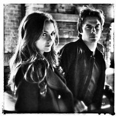 Ian and Nina on set TVD