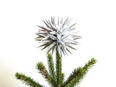 Modern Christmas Tree Topper Silver Paper Star Tree by kissadesign