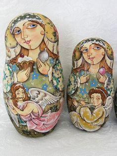 "Details about 10 1/2"" Russian Nesting Doll 10 Pieces Matryoshka Babushka Signed…"