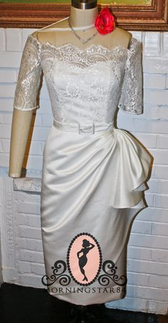 White Short Wedding Dress- Tiki Pinup Rockabilly Wiggle Pencil Skirt- Custom Made Tiki Wedding, Art Deco Wedding, Wedding Ideas, Wedding Stuff, Rockabilly Wedding Dresses, Older Bride, Strapless Sweetheart Neckline, Lace Bodice, Dress Lace