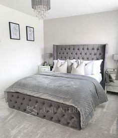 Teen Bedroom Designs, Bedroom Bed Design, Small Room Bedroom, Bedroom Decor, Master Bedroom, Modern Grey Bedroom, Modern Room, Grey Bedding, Luxury Bedding