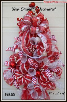 FINAL CHRISTMAS SALE!!: Red and White Deco Mesh Christmas Tree Wreath