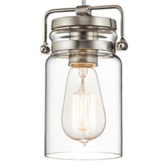 Needs 1 A19 incandescent bulb.  The vintage style of this 1 light mini pendant from the Brinley collection gives a beautifully modern treatment to the familiarity and comfort of canning jars. Used in groups or stand-alone, the Brinley collection is a new touch of home in Brushed Nickel.