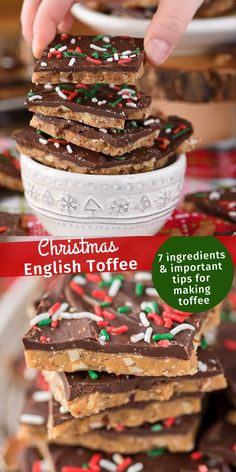 Christmas English Toffee How to make homemade english toffee including directions with and without a candy thermometer. This is the MEGA post on toffee! So many tips, everything you've wanted to know about making christmas toffee at home! New Year's Desserts, Holiday Desserts, Holiday Baking, Holiday Recipes, Delicious Desserts, Dessert Recipes, Christmas Treats For Gifts, Pastry Recipes, Fudge Recipes