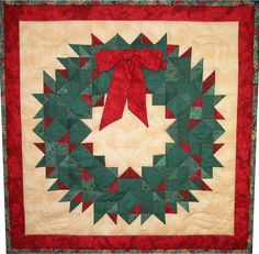Wreath pattern comes with a full color assembly diagram, holly quilting stencils, and other diagrams to help you create this three dimensional wreath. This pattern is considered advanced. Designed by Quilt Chef. Christmas Tree Quilt, Christmas Blocks, Christmas Quilt Patterns, Christmas Sewing, Christmas Fabric, Quilt Block Patterns, Christmas Quilting, Quilt Blocks, Christmas Patchwork