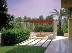 Paradies Garten gestalten Patio weißer Stein Boden