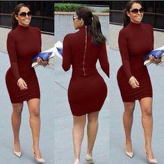 Fashion turtleneck sheath zippers dress //Price: $15.99 & FREE Shipping // #hashtag2