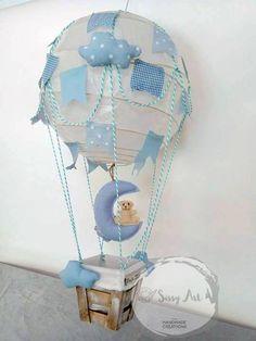 Hot Air Balloon Lamp  New collection 2018 Baby Boy by @SissyArt Papanastasiou  #balloon #sissyart #tooneiroarxizei #diy #babyboy #babyshower #handmade #creations #moon #clouds #blue #newcollection