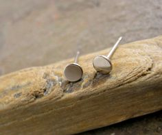 Extra Small White Gold Stud Earrings Solid 14k White Gold Studs Tiny Gold Flat Stud Earring Minimal Post Earrings Classic on Etsy, $99.00