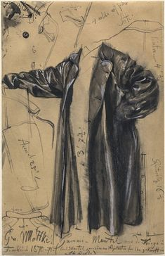 Adolph Menzel (1815-1905), The Waterproof Coat of General Moltke (1871), graphite with black and gray wash heightened with white gouache on tan wove paper, 25.4 x 39.5 cm. National Gallery of Art, Washington D.C.