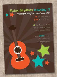 Boys Rockstar Guitar Birthday Party Invitations