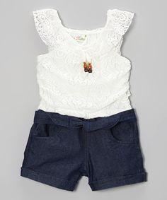 Love this White Lace  Denim Romper - Infant, Toddler  Girls on #zulily! #zulilyfinds